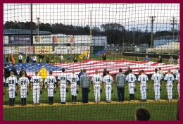Honoring the American Flag at the Freedom Classic baseball game
