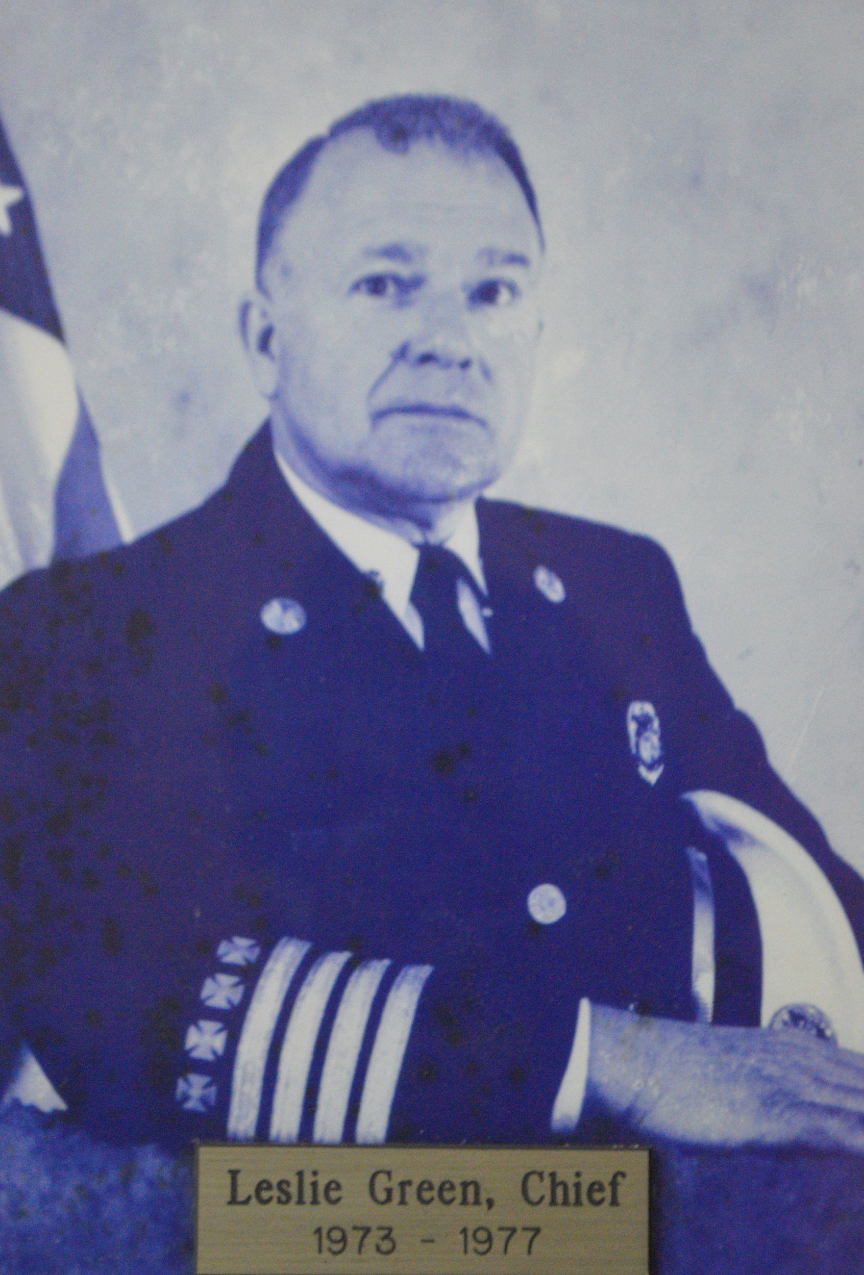 The Late Fire Chief Leslie Green Served from 1973 - 1977
