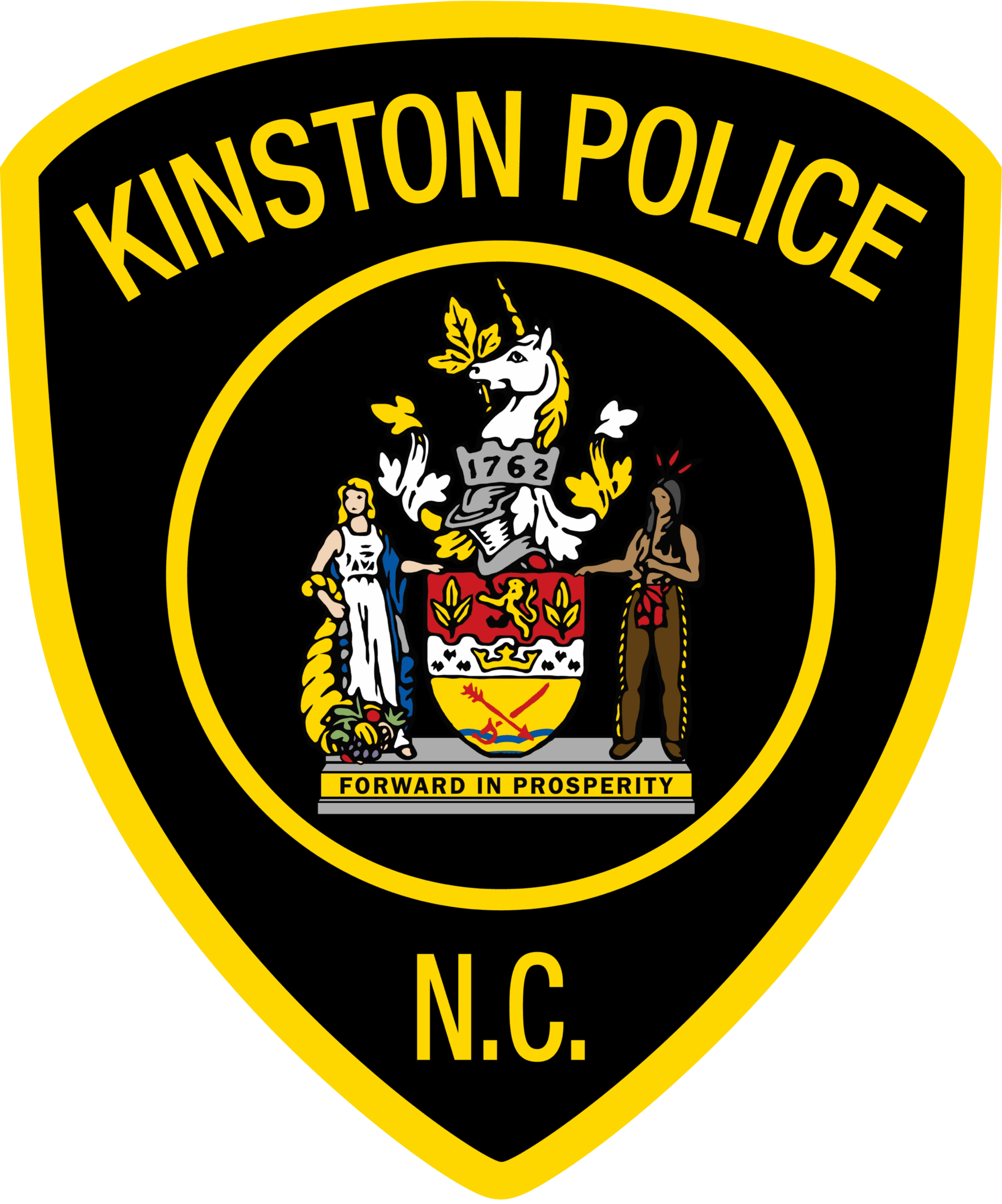 Kinston police seal with core values: Professionalism, Compassion, Fairness, Integrity, Respect and